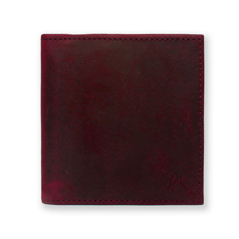 Aki Bifold Wallet in wine crazy horse leather