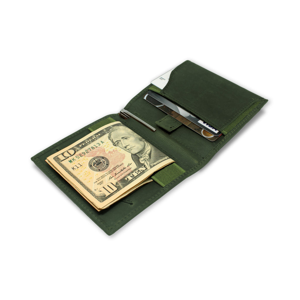 Open view of Aki Bifold Wallet in hunter green crazy horse leather, comes with a handy aluminium travel pen