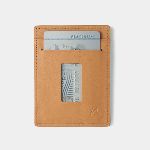 Slim Card Holder Minimalist Wallet - Haru Wallet (Tanned) - Kisetsu.Co - slim rfid shielding minimalist wallet - bellroy slim sleeve, bellroy card sleeve