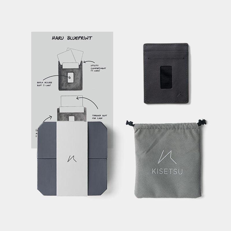 Slim Card Holder Minimalist Wallet - Haru Wallet (Grey) - Kisetsu.Co - slim rfid shielding minimalist wallet - bellroy slim sleeve, bellroy card sleeve