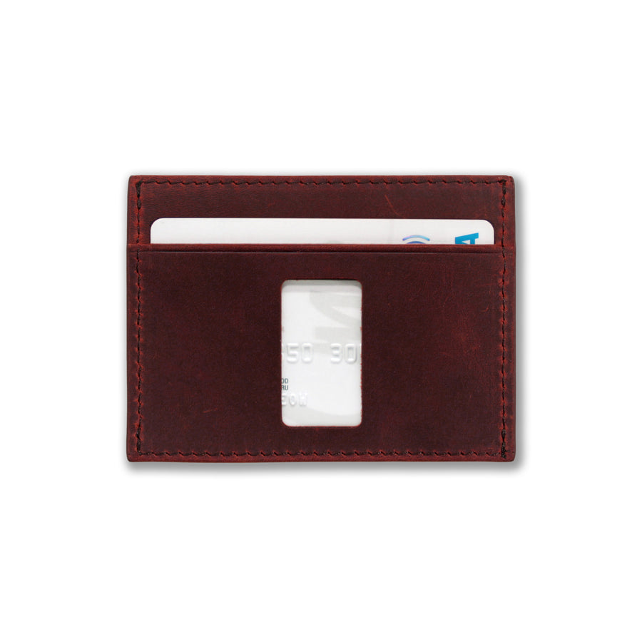 Back view of Haru wallet in wine red with ninja card slot