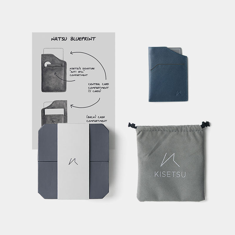 Smallest Minimalist Wallet - Natsu Wallet (Blue) - Kisetsu.Co - slim rfid shielding minimalist wallet - 4