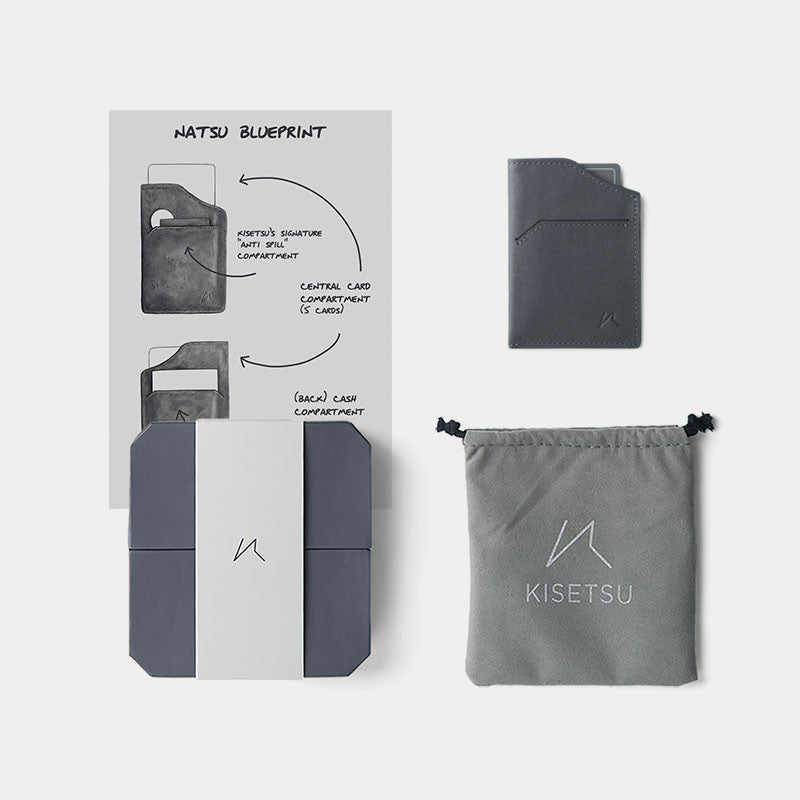 Smallest Minimalist Wallet - Natsu Wallet (Grey) - Kisetsu.Co - slim rfid shielding minimalist wallet - 4