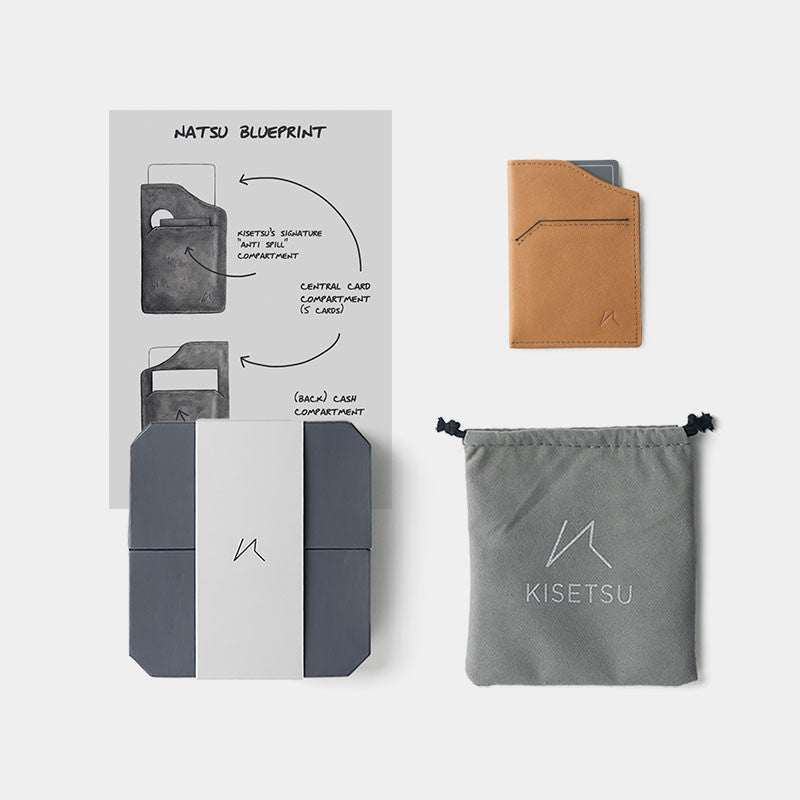 Smallest Minimalist Wallet - Natsu Wallet (Tanned) - Kisetsu.Co - slim rfid shielding minimalist wallet - 4