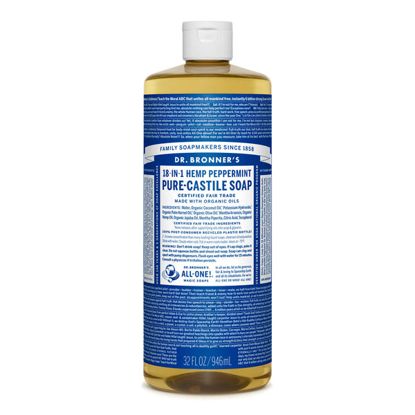 Dr. Bronner's Peppermint Pure Castile Liquid Soap - Multiple Sizes