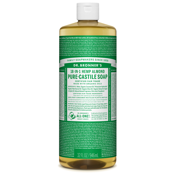 Dr. Bronner's Almond Pure-Castile Liquid Soap - 237ml, 946ml