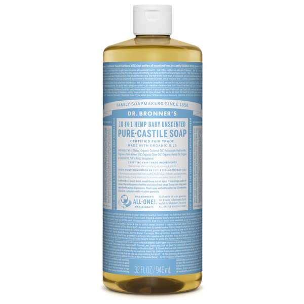 Dr. Bronner's Baby Unscented Pure-Castile Liquid Soap - Multiple Sizes