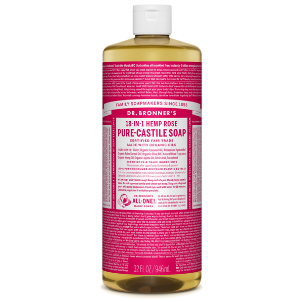 Dr. Bronner's Rose Pure-Castile Liquid Soap - Multiple Sizes
