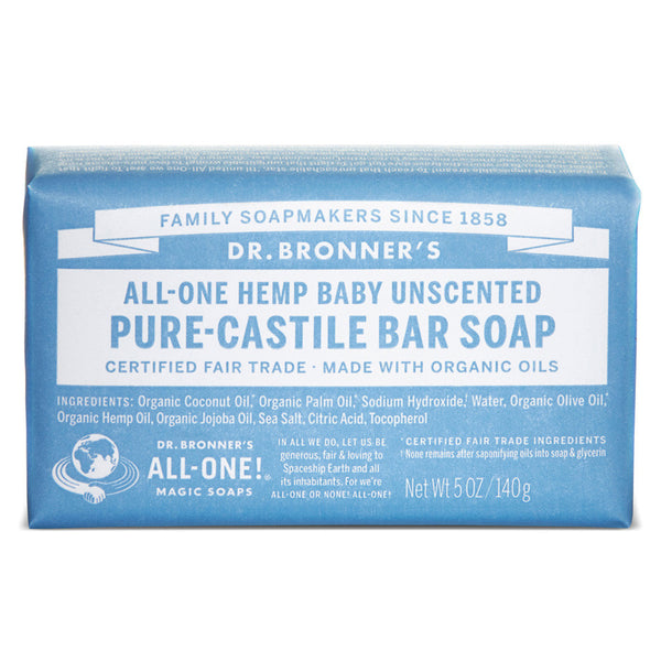 Dr. Bronner's All-One Baby Unscented Pure-Castile Bar Soap - 140g
