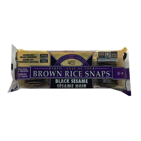 Edward and Sons Black Sesame Brown Rice Snaps - 100g