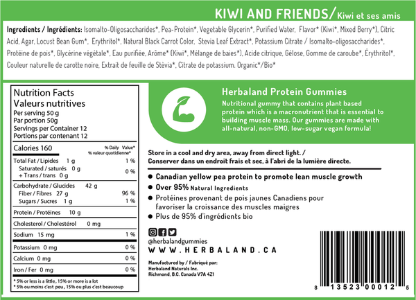 Herbaland Kiwi & Friends Protein Gummy Bag - 600g