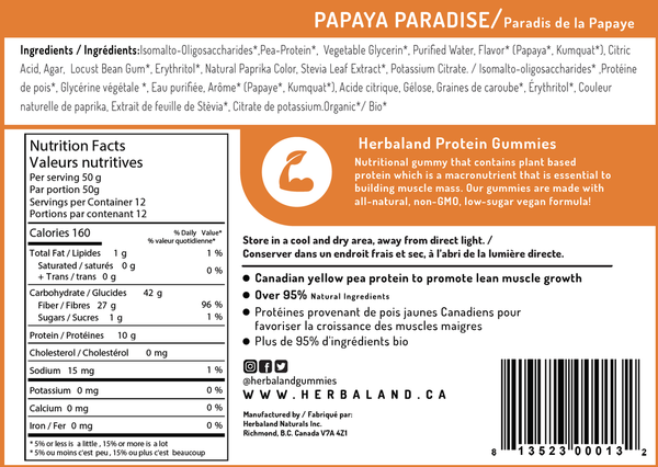 Herbaland Papaya Protein Gummy Bag - 600g