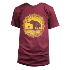 Herbivore 'Good Luck Elephant' Unisex T-Shirt - Matte Dark Maroon