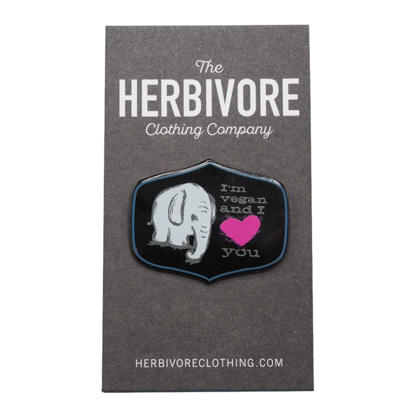 "Herbivore 'I'm Vegan & I Love & You"" Elephant Enamel Pin"