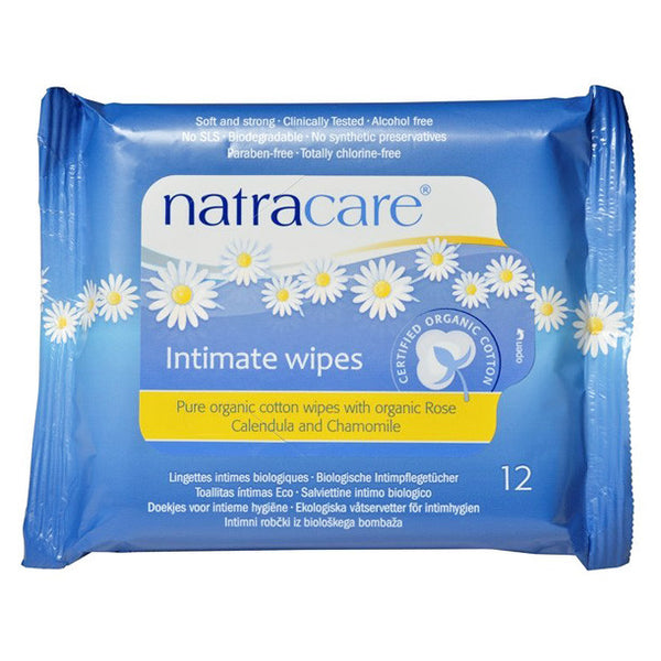 Natracare Intimate Wipes - 12 Wipes