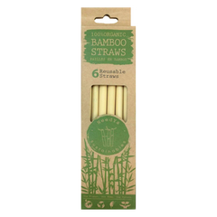 Needya Sustainables Organic Regular Bamboo Straws - 6-Pack