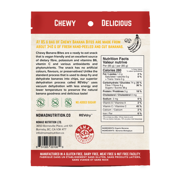 Nomad Nutrition Chewy Banana Bites - 85g