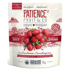 Patience Fruit & Co Whole & Juicy Dried Cranberries Sweetened With Apple Juice - 113g