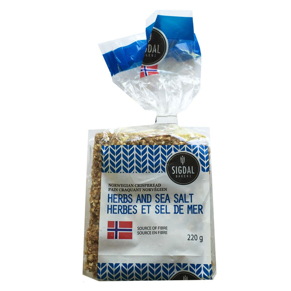 Sigdal Bakeri Herbs and Sea Salt Norwegian Crispbread - 220g
