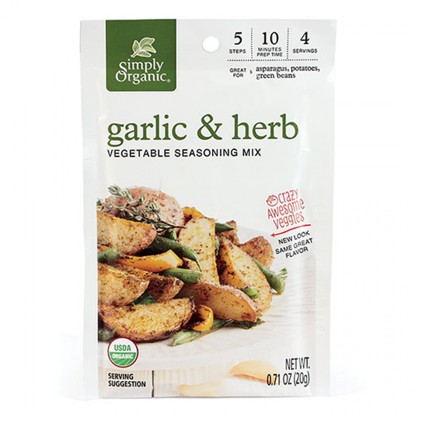 Simply Organic Garlic & Herb Vegetable Seasoning Mix - 20g