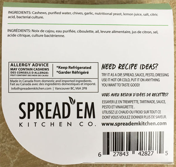 Spread'Em Chives & Garlic Cashew Spread - 183g