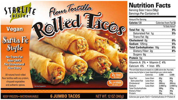StarLite Cuisine Santa Fe Style Rolled Tacos - 340g