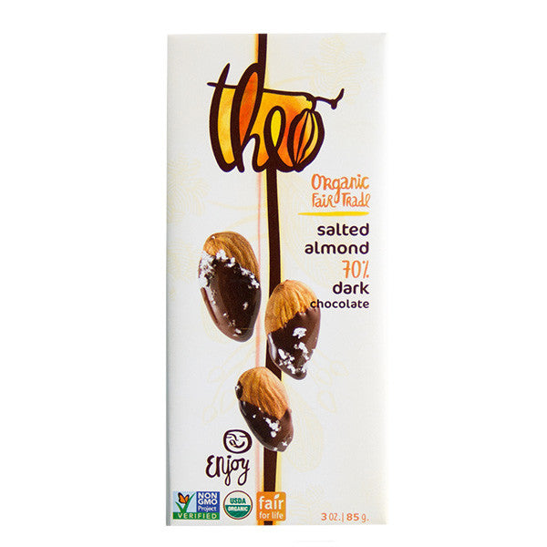 Theo Salted Almond 70% Dark Chocolate Bar - 85g
