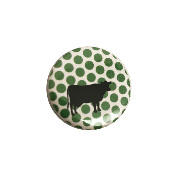 Vegan Supply 'Cow (Green Dots & White)' Button