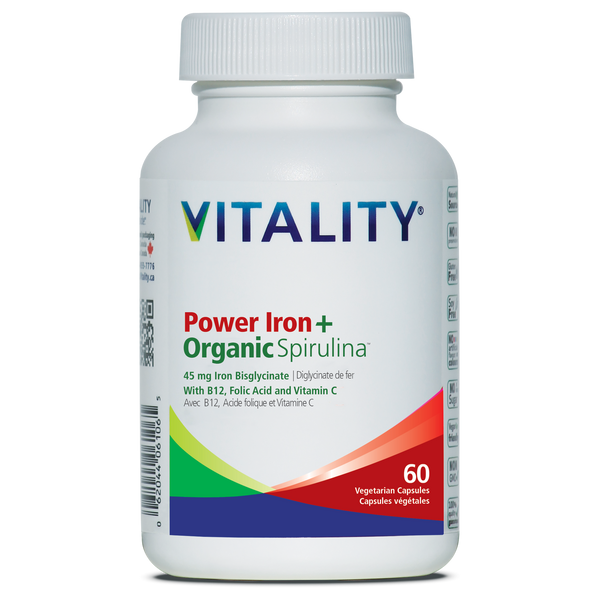 Vitality Power Iron + Organic Spirulina - 30 or 60 Veg Capsules
