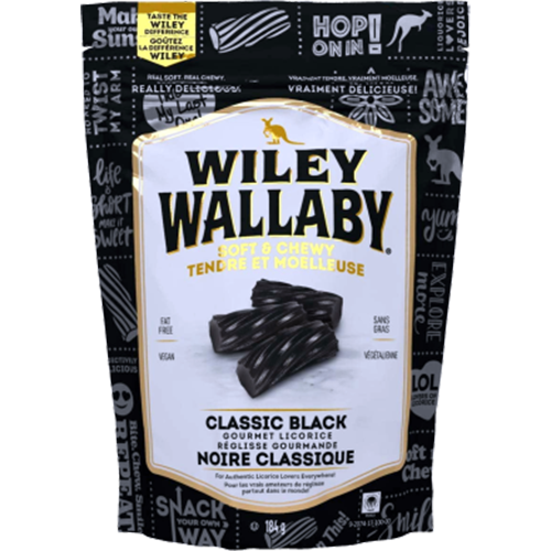 Wiley Wallaby Black Licorice - 184g