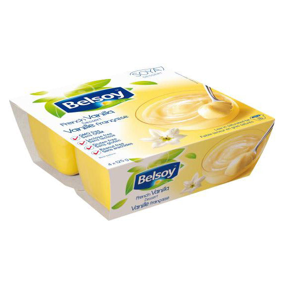 Belsoy French Vanilla Pudding - 4x 125g