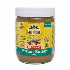 New World Organic Smooth Unsalted Peanut Butter - 500g