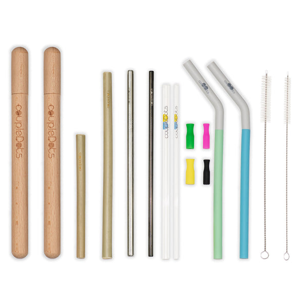CoupleDots Drinking Straw Mixed Starter Kit - 8 Straws