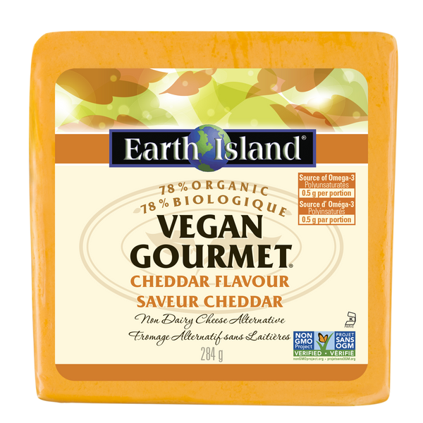 Earth Island Cheddar Vegan Gourmet Block - 284g