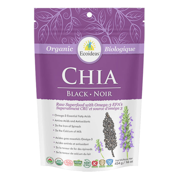 Ecoideas Organic Black Chia Seeds - 454g