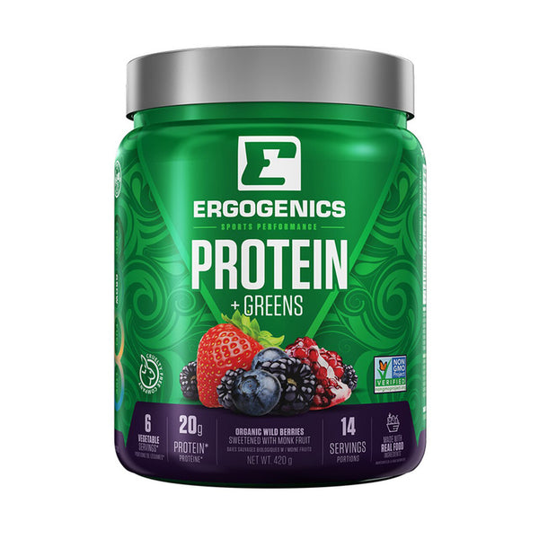 Ergogenics Protein +Greens, 4 Flavours - Multiple Sizes