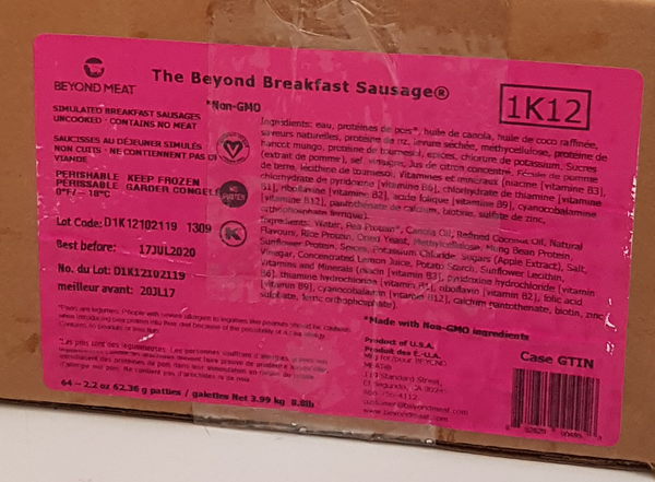 Beyond Meat Breakfast Sausage Patties (Food Service) - 9.3lb Case
