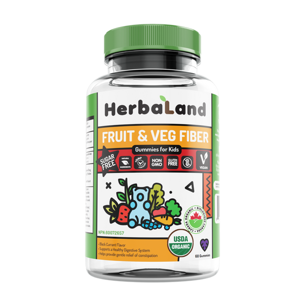 Herbaland Kids Sugar-Free Fruit, Veg & Fiber - 60 Gummies