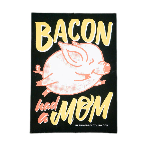 Herbivore 'Bacon Had A Mom' Coral/Yellow Sticker