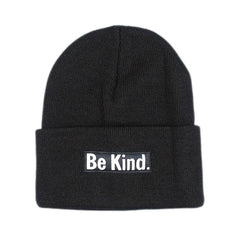 Herbivore 'Be Kind' Cuffed Black Beanie