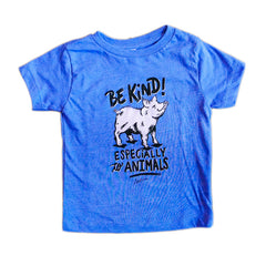 Herbivore 'Be Kind Pig' Blue Kids Tee