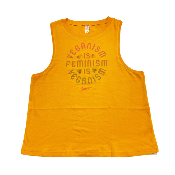 Herbivore 'Veganism Is Feminism' Women's Gold Muscle Tank