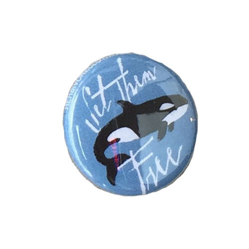 Herbivore 'Set Them Free Orca' Button - 1""