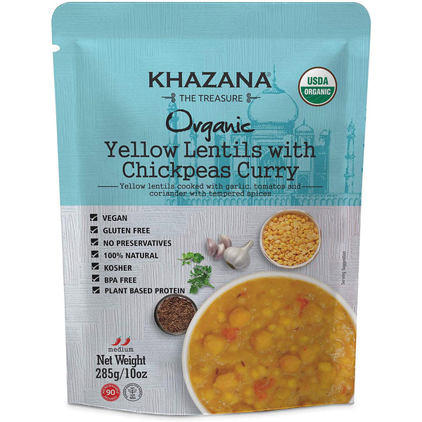 Khazana Organic Yellow Lentil with Chickpeas Curry - 284g