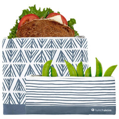 Lunchskins Reusable Zippered Blue Geo Sandwich Bag + Snack Bag Bundle