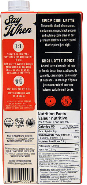 Say When Organic Spicy Chai - 946ml