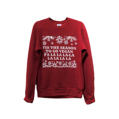 "Talk Vegan To Me ""Tis The Season..."" Red Unisex Crew Neck Sweater"