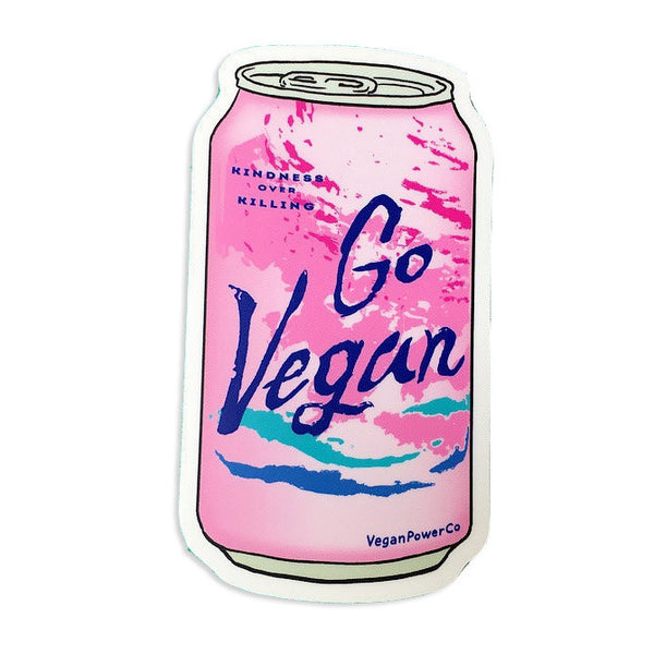 "Vegan Power Co 3"" Pink Soda Sticker"