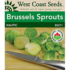 West Coast Seeds Organic Nautic F1 Coated Brussel Sprout Seeds - 25 Seeds