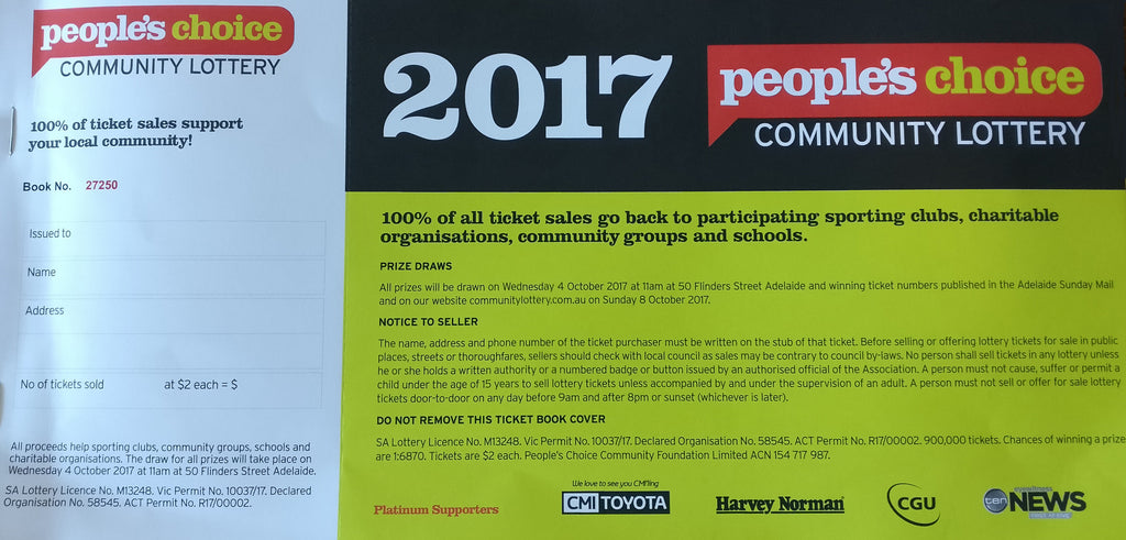 People's Choice Community Lottery 2017 Ticket booklet
